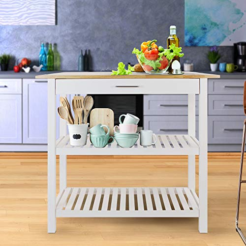 Casual Home Kitchen Island with Solid American Hardwood Top, White