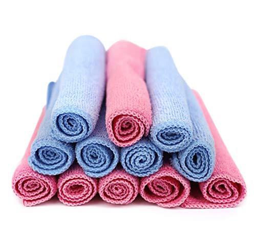 Nutricare Plus Makeup Remover Cloths 12 Pack 8 Inch x 8 Inch (Handheld Size) Reusable, Facial Cleansing Towel, Deep Pore Eco Facial Wash, Exfoliates, 6 Blue 6 Pink Microfiber