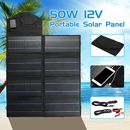 XHJZ USB portátil Plegable 50W 12V Paneles solares