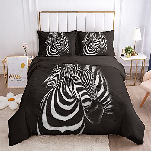 Kseyic Juego de ropa de cama con diseño de cebra, estampado de animales, 100% microfibra, funda nórdica y funda de almohada, con cremallera, para adolescentes y niños (200 x 200 cm)