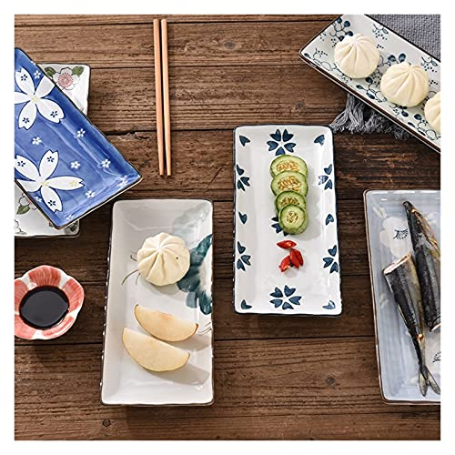 Xu Yuan Jia-Shop Platos Llanos Placa de Sushi Placa de Cena de cerámica Flor Fruta vajilla Rectangular Cena Platos Plato de Cena Plato Plato de Fruta Platos de Comida (Color : B)