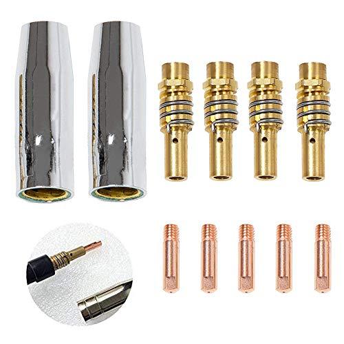 MB15 MIG 11 Teile, Verschleißteile Set für MB 15AK, Ersatzzeile Verschleißteileset, 5 Gasdüse, 4 Düsenstock, 5 Stromdüse M6 0,8mm 1,0mm, Kontaktröhrchen Schweißzubehör, Mehrere Möglichkeiten für Sie