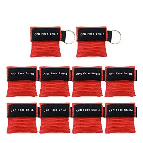 CPR Maske Schlüsselanhänger Ring Emergency Kit Rescue Face Shields mit Einweg-Ventil Atem Barriere für Erste Hilfe oder AED Training (10)