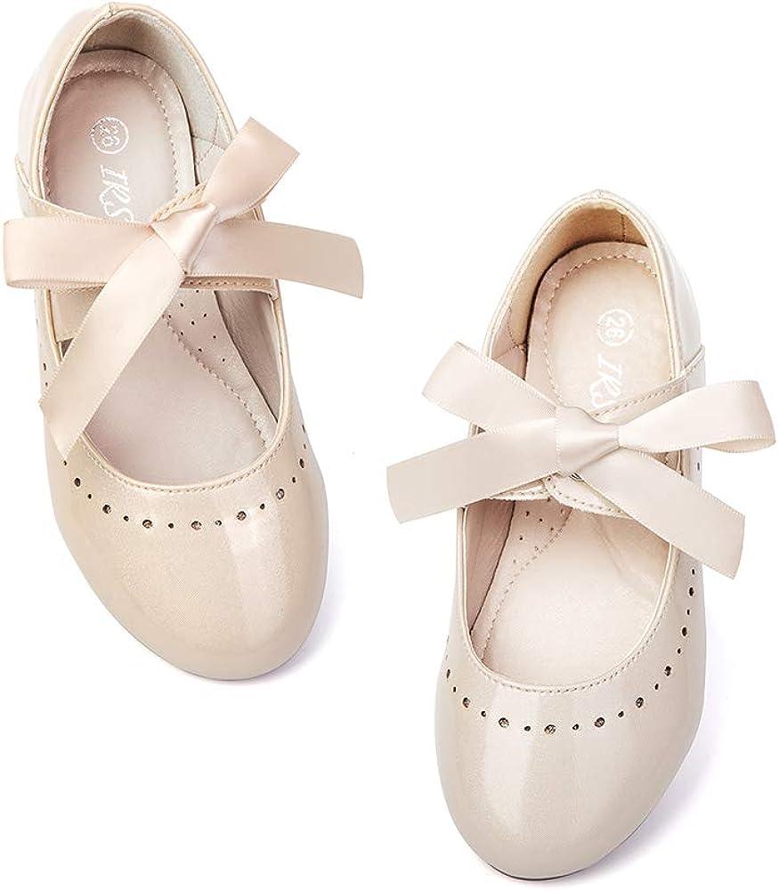 IRSINI Toddler Little Girls Mary Jane Ballet Dress Flat Shoes with Bow Bandage Princess Wedding Party Flower Girl Flat
