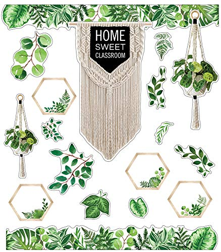 Schoolgirl Style Simply Boho Bulletin Board Set—Home Sweet Classroom Macrame Header, Leaf Border Trims, Hanging Planters, Assorted Leaves, Hexagon Cutouts (58 pc)
