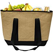 Earthwise Insulated Grocery Bag Jute Shopping Tote W/Zipper Closure And Waterproof Peva Lining Keeps Food Hot Or Cold Thermal Cooler