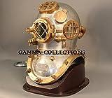Vintage Brass Diving Divers Helmet Steel Antique Mark V Full size w Wooden Base