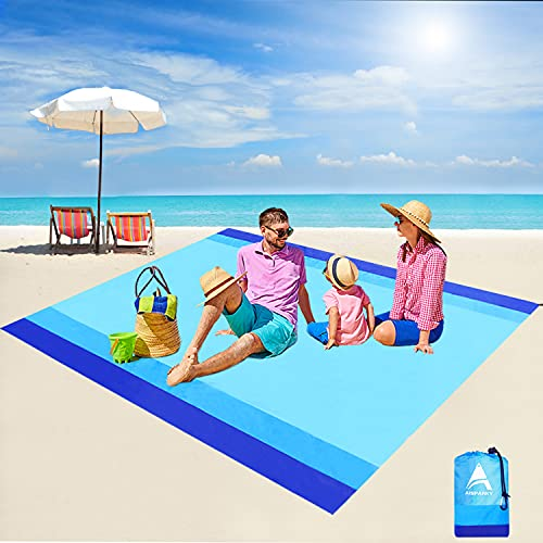 """Beach Blanket, Beach Mat Outdoor Picnic Blanket Compact for 4-7 Persons Water Proof and Quick Drying Beach Mat Mady by Premium Nylon Pocket Picnic Sheet for Outdoor Travel ( 78"""" X 81"""")"""