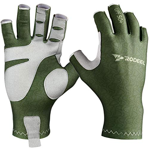 Rodeel Fishing Gloves UV Protection Gloves Sun Protection,Color:Green,Size:LXL