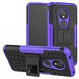 LiuShan Moto E5 / G6 Play Custodia, Protettiva Shockproof Rigida Dual Layer Resistente agli Urti con cavalletto Caso per Motorola Moto E5 / G6 Play Smartphone (con 4in1 Regalo impacchettato),Viola