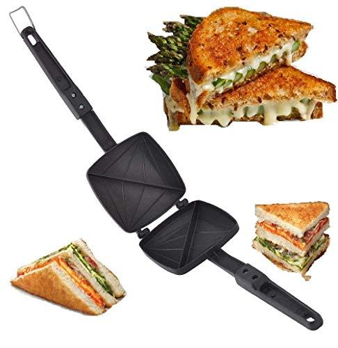 Om Anvay Special Non-Stick Aluminium Mini Gas Toaster and Sandwich/Burger/Samosa Maker 270 Degree (12 x 34 cm_Black)