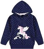 Baby Girl Zip up Hoodie Sweatshirt Toddler Rainbow Unicorn Jacket Kids Hooded Coat Outwear Navy 3t /045