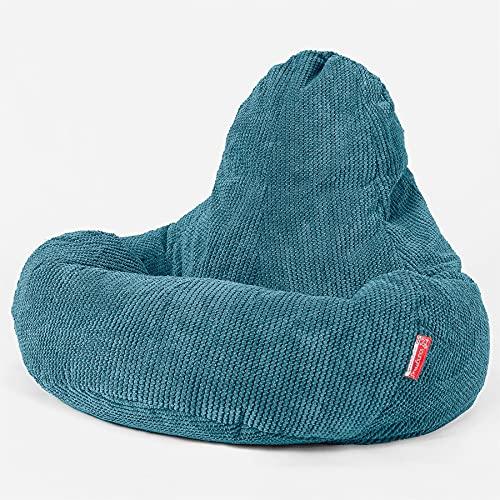 Lounge Pug - Sedie da Gioco con poggiapiedi - Pompon Egeo Blu - ULTRA LUX - Poltrona Sacco