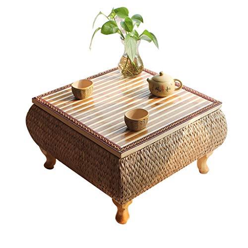Tables De Lit Maison Bambou Petite Tatami Basse Balcon Baie Vitrée Lit en Paille Étude Salon Chambre Basse (Color : Blanc, Size : 43 * 43 * 30cm)