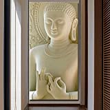 ganlanshu Pintura de Buda Impresión Vertical Rectangular Mármol Blanco Estatua de Buda Lienzo Mural Imagen de Arte para el Pasillo de Entrada Decoración Pintura sin Marco 30cmx60cm