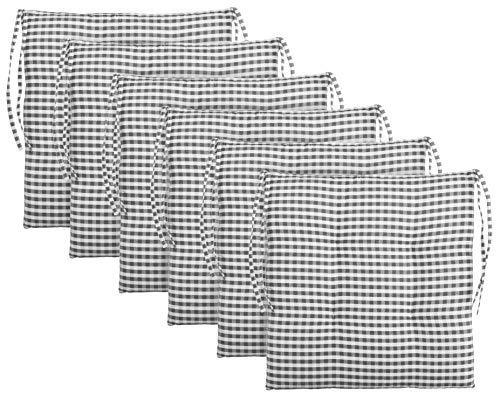 Brandsseller Cojín de asiento para silla a cuadros, cojín de asiento acolchado para jardín, 40 x 40 cm, color antracita, gris claro, marrón, beige (paquete de 6 unidades), color gris oscuro