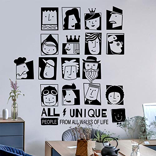 Suministros de diseño de pegatinas de pared creativas personalizadas: avatar en blanco y negro personalizado_Batch one piece