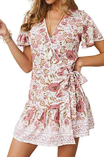 MisShow Damen Kleider mit Blüte Drucken Lange Sommerkleid Strandkleider Minikleider Gr. S