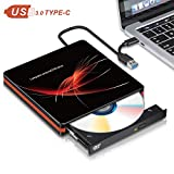 Riselight External DVD Drive for Laptop, High-Speed USB 3.0 & Type-C Data Transmission, Ultra Slim Portable CD Burner Rewrite Compatible with Windows 7/8/10/XP/Mac OS