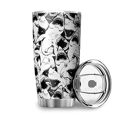 Taza de viaje con tapa de doble pared de tiburón, acero inoxidable, diseño 3D, térmica, resistente a las salpicaduras, color blanco, 600 ml