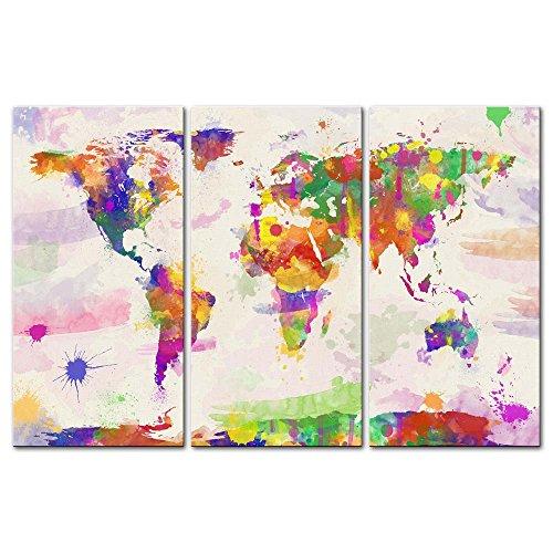 Impresión en acuarela de mapa del mundo sobre lienzo, cuadros para 3 piezas imágenes para sala de estar, decoración, impresiones de fotos sobre Lienzo