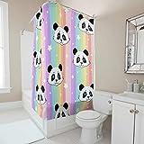 Sweet Luck Regenbogen Panda Duschvorhang Anti-Schimmel Wasserdicht Waschbar Stoff Duschvorhänge Polyester Textil Shower Curtain mit Duschvorhängeringen für Dusche White 200x200cm