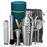 Vinekraft Cocktail Making Set Cocktail Accessories Professional Cocktail Shaker Set with Jigger Strainer Muddle & Spoon Stainless Steel Image