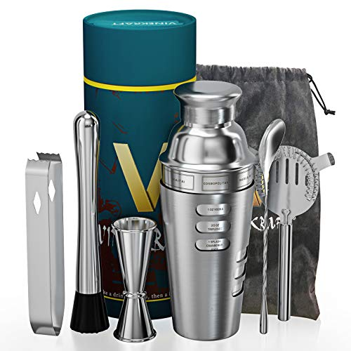 Vinekraft Cocktail Making Set Cocktail Accessories Professional Cocktail Shaker Set with Jigger Strainer Muddle & Spoon Stainless Steel