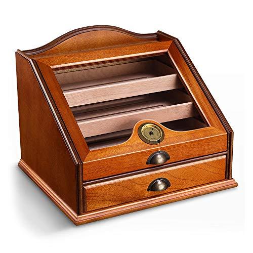 FxsD Cigar Box, transparentes Glasfenster, Großraum-Schubladen-Typ Humidor, Mit Hygrometer und Luftbefeuchter, hält 100 Zigarren ## (Color : A)