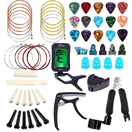 Bosunny Kit di Accessori per Chitarra da 60 PCS,Inclusi Plettri per Chitarra,Capotasto,Accordatore,Corde per Chitarra Acustica,Avvolgitore per Corde 3 in 1,Perno per Ponte,Protezione per Le Dita
