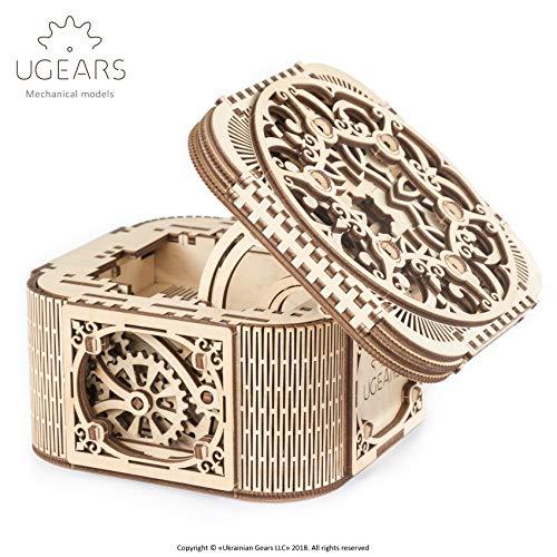 UGEARS 70031 Treasure Box/doos, 3D-houten kit zonder lijm
