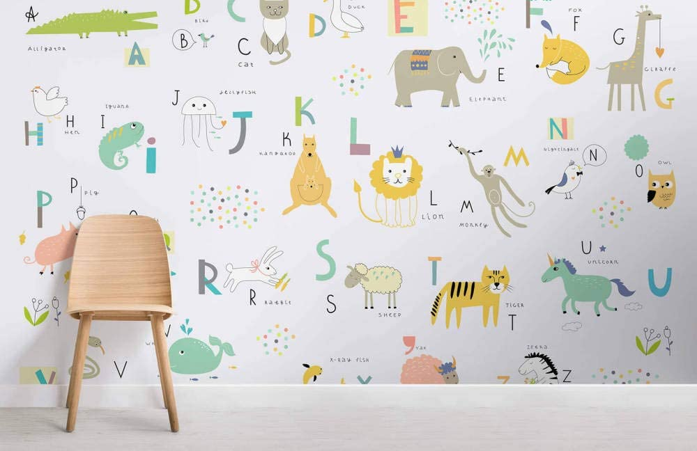 New mail order Max 57% OFF Kids Alphabet Childrens Room 3D Wall Wallpaper Photo Pictu Mural