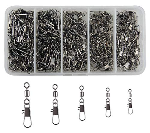 300pcs/lot Fishing Swivel Snaps Copper & Stainless Steel Rolling Swivel Interlock Snap Lure Connectors Accessories Fishing Tackle Box Kit Size 2,4,6,8,10