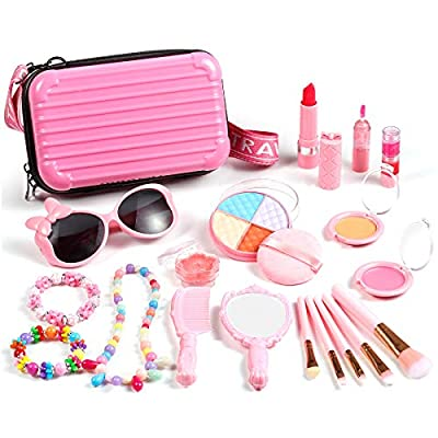 Auney Kids Makeup Kit for Girls, Washable Makeup Set 20 PCS, Non-Toxic Real Makeup Toy Safe Cosmetic Set for Kids Girls Play Game Halloween Christmas Birthday Party