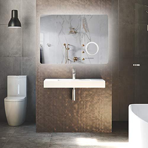 LUVODI Espejo de Baño con Iluminación LED, Espejo Baño Pared de Interruptor Táctil, Espejo baño Antivaho 80 x 60cm, Protección IP44, Ideal para Cuarto de Baño, Dormitorio y Vestidor
