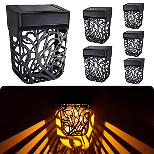 Chipark Solar Fence Lights Garden Outdoor Solar Powered Wall Light IP65 Waterproof Solar LED Wireless Lights for Yard Deck Roof Patio Stairway Gate Lighting Decoration 6 Pack(Warm White)