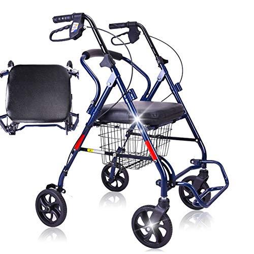 FKYTH Andador con Ruedas Plegable con Asiento y Frenos de Cuero Confort, Carro de Compras for Ancianos de 3 Asas de Altura Ajustable con Mango Ligero