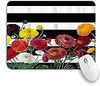 EILANNAマウスパッド ブラックホワイトストライプレトロな赤い花の花 ゲーミング オフィス最適 高級感 おしゃれ 防水 耐久性が良い 滑り止めゴム底 ゲーミングなど適用 用ノートブックコンピュータマウスマット