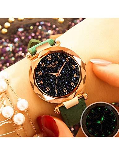 QIADS Uhren Frauen-Art- Und Weiseuhr-Kristallstern-Lederarmband-Damenuhr Beiläufige Freizeit-Armbanduhren, Grün