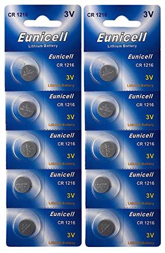 Eunicell 10 x CR1216 (2 Blistercards a 5 Batterien) EINWEG Markenware