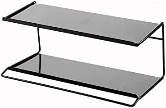 XINHU Witte zwarte badkamer plank 2-layer wandgemonteerde opslagmand (Color : Black)