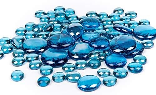 deetjen&meyer Pebbles, 15-40 mm. 0,5 kg. Glassteine, Glasnuggets. Glas Steine Muggelsteine. BLAU