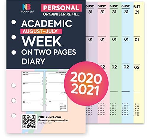 NBplanner Personal Academic 2020-2021 Wochenansicht Terminplaner Nachfülleinlage Filofax Personal Compatible farbig rose