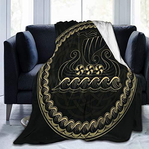 AIMILUX Flanell Fleece Soft Throw Decke,Wikinger Drakkar Schiff,das auf dem stürmischen Meer und dem mythischen Baum Yggdrasil segelt,für Sofas Sofa Stühle Couch Leicht,warm und gemütlich 153x127cm