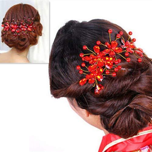 Qingsb Pince à cheveux pour femme Motif fleurs rouges