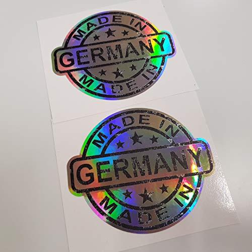 2x Made in Germany Hologramm Oilslick Rainbow Flip Flop Schwarz Aufkleber Metallic Effekt Shocker Hand Auto JDM Tuning OEM Dub Decal Stickerbomb Bombing Sticker Illest Dapper Fun Oldschool
