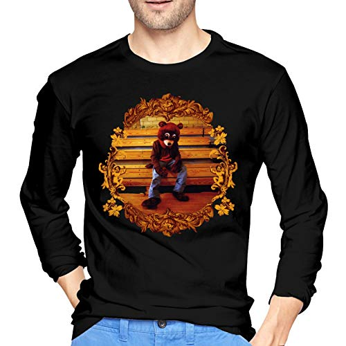 PETEWILL Kanye West College Dropout Bear Men's T-Shirt Casual Cotton Crewneck Long-Sleeve T-Shirts XX-Large Black