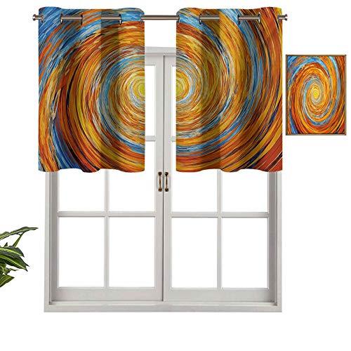 Cenefa corta recta, estilo hippie, espiral, rotativa, diseño caótico inusual, de contraste, juego de 2, 42 x 24 pulgadas para Windows cocina