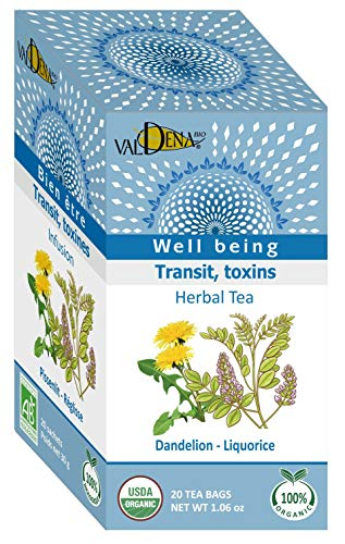 Valdena Bio Well Being Line Dandelion Licorice Organic Tea Infusion, Caffeine Free Herbal Tea Blend, All-Natural, Kosher and USDA Certified, 20 Count, 3 Pack, 60 Individually Wrapped Enveloped Hot Tea