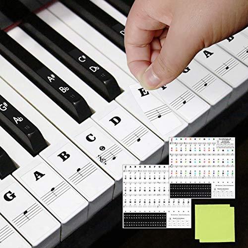 CHIFOOM 2er Keyboard Aufkleber Klavier Noten Sticker E Piano Lernen Klaviertasten Klavieraufkleber Transparent Abnehmbar Bunt & Schwarz Tastatur Tasten für 49/61/76/88 Kinder Erwachsene Anfänger